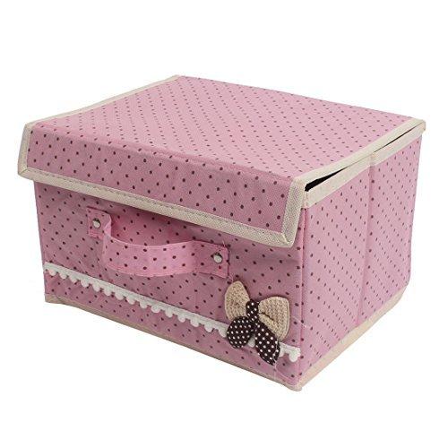 DealMux Nylon Bowknot Design Foldable Scarf Sock Storage Organizer Case Pink