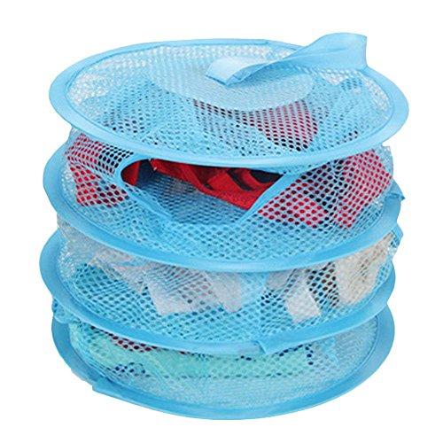 HuaYang Hanging Mesh Bra Underwear Socks Storage Net 3 Shelf Tier Semi-closed Organizer Blue