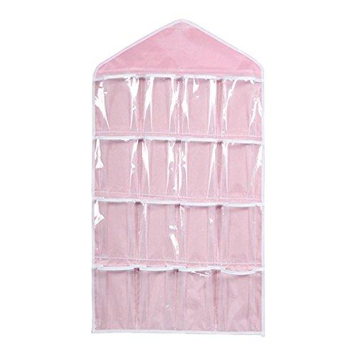 NUOLUX 16 Pockets Clear Over Door Hanging Bag Shoe Rack Hanger Underwear Socks Bra Closet Storage Tidy Organizer Pink