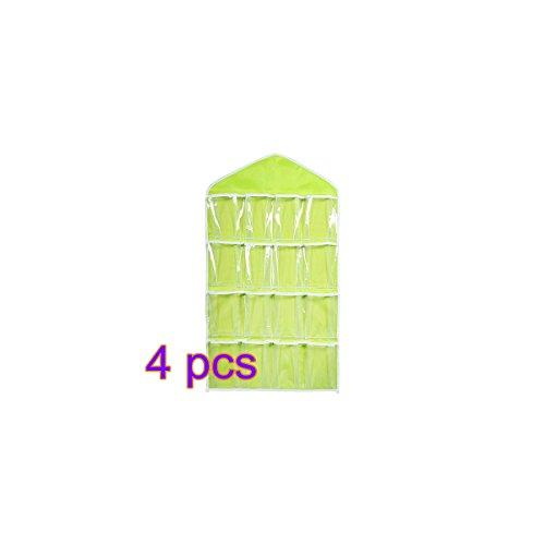 OULII 416 Pockets Clear Over Door Hanging Bag Shoe Rack Hanger Underwear Socks Bra Closet Storage Tidy Organizer Gifts for Mothers Green