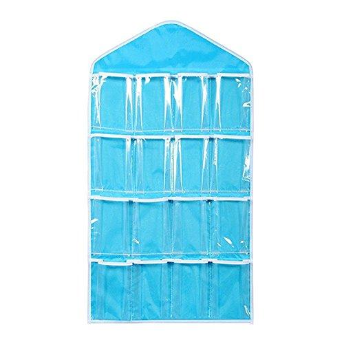 OUNONA 16 Pockets door Hanging BagShoe Rack Hanger Underwear Socks Bra Closet Storage Tidy Organizer Blue