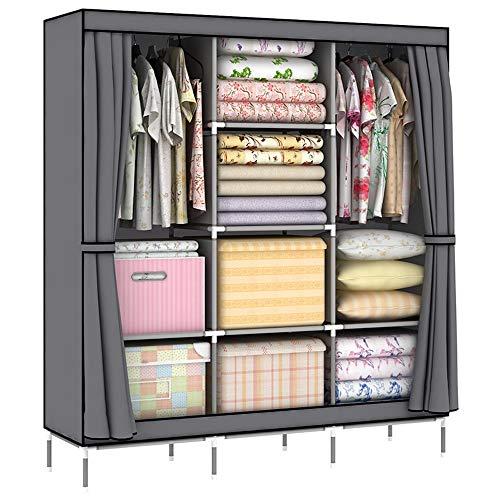 FeliciaJuan-Home Portable Wardrobe Closet Closet Wardrobe Portable Clothes Storage Organizer with Metal Shelves and Dustproof Non-Woven Fabric Clothes Storage Organizer Color  Gray