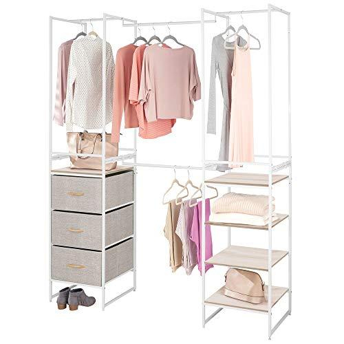 mDesign Modular Closet Organizer System Storage Unit Sturdy Steel Frame 3 Fabric Drawer Bins 4 Garment Racks 5 Shelves for Bedroom Hallway Entryway Closet Textured Print - LinenNatural