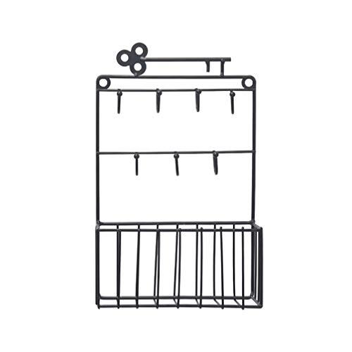 LIOOBO Wall Mount Key Basket Iron Bakset Holder 7 Hooks Mail Key Letter Storage Basket Hanging Wall Basket Caddy for Home Entryway