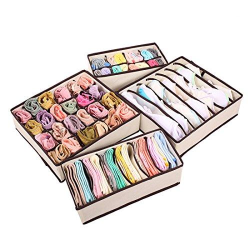 Auxeo Set of 4 Foldable Storage Box Bra Underwear Closet Organizer Drawer Divider Kit Beige