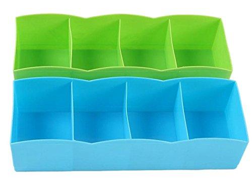 BleuMoo Plastic Foldable Drawer Closet Underwear Bra Sock Ties Organizer Storage Box Random Color