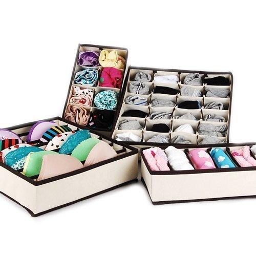 Collapsible Storage Boxes Bra Underwear Closet Organizer Drawer Divider 4 Set Color Beige