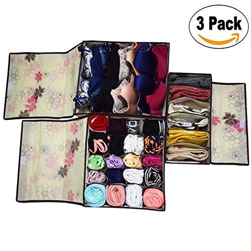 Metuu Closet Underwear Organizer Drawer Divider with cover 3 Set