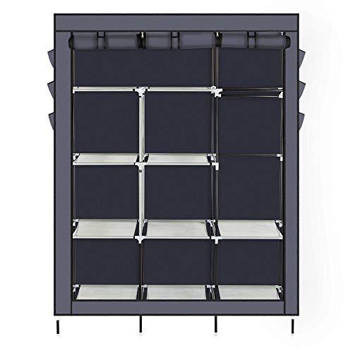 ARB MARKET Portable Wardrobe Clothes Closet Home - Heavy Duty Portable Closet Storage Organizer Wardrobe Clothes Rack Shelves Gray 50 X 177 X 689  127 X 45 X 175 Cm L X W X H