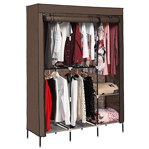 Aceshin Clothes Closet Organizer Storage Portable Wardrobe Fabric Cabinet Coffee