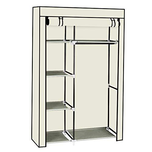 NANA SUN 4 Layer 6 Lattices Portable Closet Storage Organizer Wardrobe Clothes Rack with Shelves Dark BrownBeigeBlack-Beige