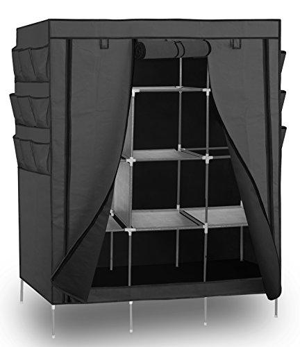 OxGord 69 Portable Closet Storage Organizer Clothes Wardrobe with Shoe Rack Shelves - Gray