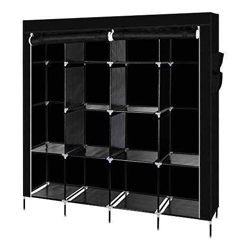 Spaco 19441 Portable Closet Storage Organizer Non-Woven Fabric Clothes Wardrobe Black