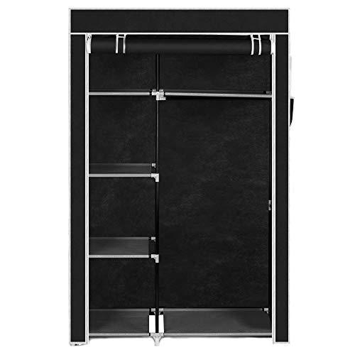 Tidyard 64 Portable Closet Storage Organizer Wardrobe Clothes Rack with Shelves Black Closet Organization Systems