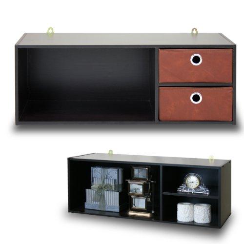 Furinno 10005EXBR Wall-mounted Storage Shelf with 2 Bin Drawers EspressoBrown
