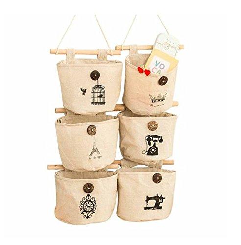 Pishmount Fabric Wall Door Closet Hanging Storage Bag Small Cotton Hanging Pockets Set of 3