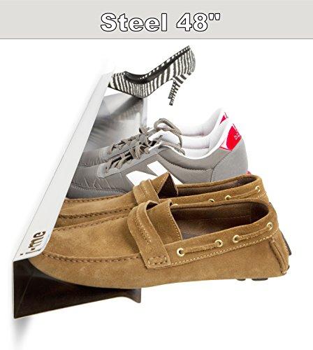 j-me Horizontal Shoe Rack Organizer Mounted Wall Storage Shelf – Keeps Heels Sneakers and Sandals Off the Floor Steel - 48 Inches