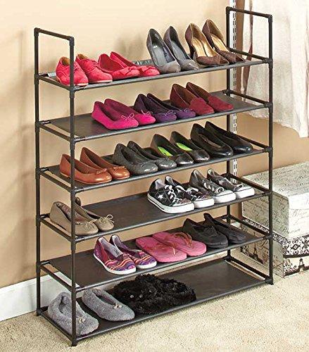 6 Tier Gray Mesh Closet Shoe Organizer