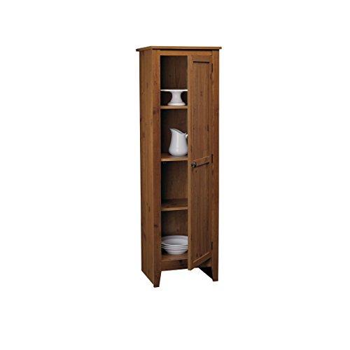 Adeptus Solid Wood Single Door Pantry Cabinet Pecan Finish