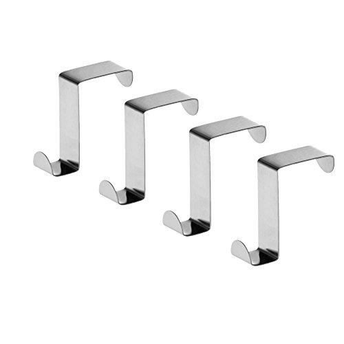 Moca Stainless Steel Over the Door Hooks Home Kitchen Cupboard Cabinet Towel Hooks 4Pcs