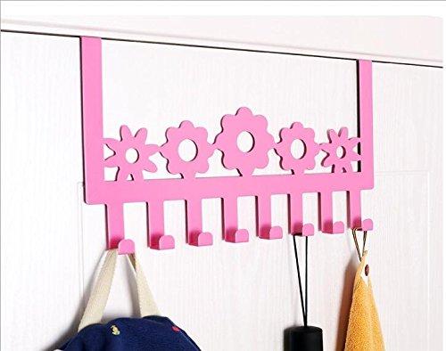 Stainless Steel Over Door Hooks Home Kitchen Cupboard Cabinet Towel Coat Hat Bag Clothes Hanger Holder Organizer Rack pink color(8PCS)Suitable for the thickness door