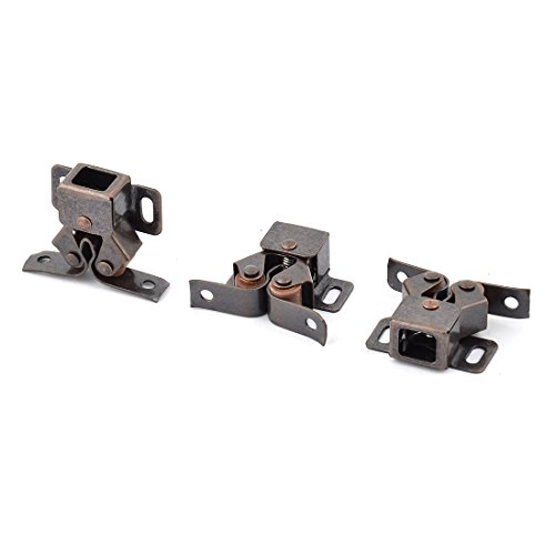 uxcell Home Cupboard Cabinet Metal Double Ball Roller Door Latch Catch Copper Tone 3pcs