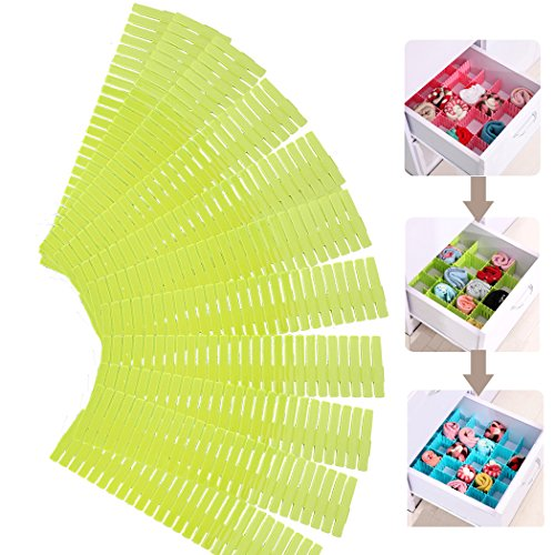 12Pcs DIY Drawer Organizer HOMURE Strong Durable Drawer Separators for Your Desk or Drawer 125×27inch Green