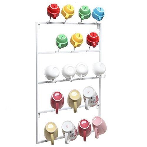 5 Tier White Metal Wall Mounted Kitchen Mug Hook Display  Cup Storage Organizer Hanger Rack - MyGiftÂ