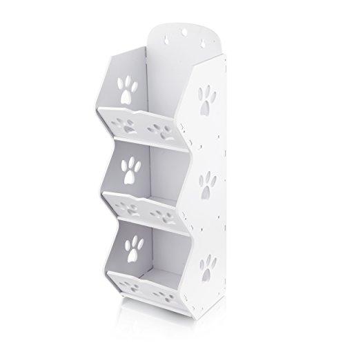 Sunreed Free Punching 3 Cubes Wall Mounted Storage Rack Shelves Bathroom Organizer Wood-Plastic White63L39W197H inch