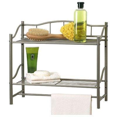 Bathroom Double Wall Shelf Organizer with Towel Bar Brushed Chrome Pearl Nickel by Creative Bath