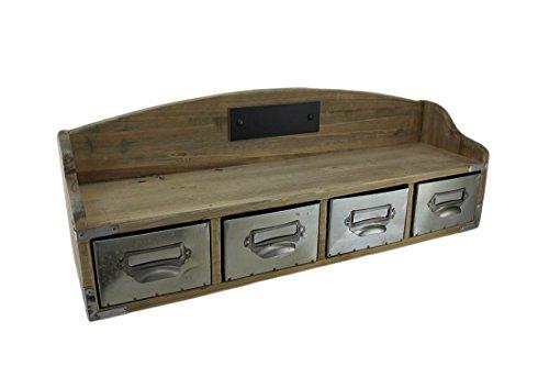 Zeckos Wood Metal Hanging Shelves 68024 Wooden Retro Wall Shelf Organizer W4 Drawers 195 X 7 X 5 Inches Brown