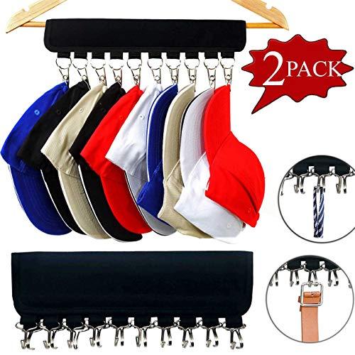XJunion Cap Organizer Hanger 10 Baseball Cap Holder Hat Organizer for Closet - Change Your Cloth Hanger to Cap Organizer Hanger - Keep Your Hats Cleaner Than a Hat Rack Hook and Clip