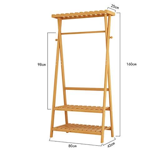 YWYMJ Coat Racks Hanger Bamboo Hanger Jacket Hanger 2 Layer  3 Layer Shoe Rack and 2 hat Rack Hook 8043160cm 10043160cm Optional Color  B Size  80cm