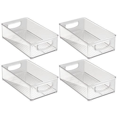 InterDesign Home Kitchen Organizer Bin for Pantry Refrigerator Freezer Storage Cabinet Set of 4 10-Inch by 6-Inch by 3-Inch Clear