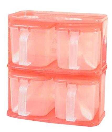 4-Piece Kitchen Condiment Pots Seasoning Rack Spice Pots Storage Container