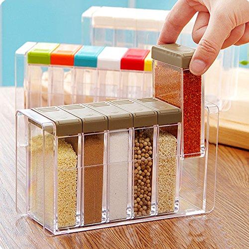 Spice Shaker Windspeed 6 Pcs Seasoning Rack Spice Pots Storage Container Condiment Jars with Tray for Salt Sugar Cruet