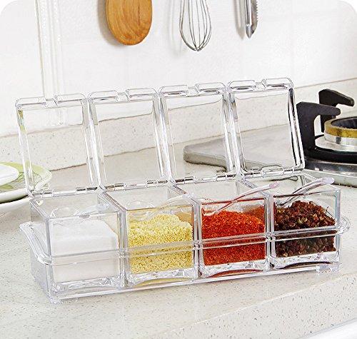 TOPCHANCES 4-Piece Seasoning Spice Pots Storage Container Condiment Jars Cruet Spice Pots