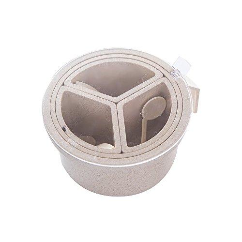 Verdental Removable Multi-Compartment Seasoning Box Spice Pots Storage Container Condiment Jars Beige