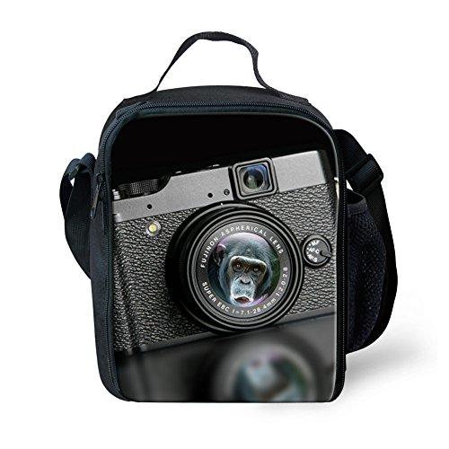 CHAQLIN Camera Designs Lunch Bag Cooler Black Men Lunch Box with Bottle Holder