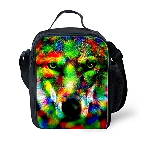 CHAQLIN Wolf Face Prined Cool Kids Lunch Bags Tote Lunchbox with Bottle Holder