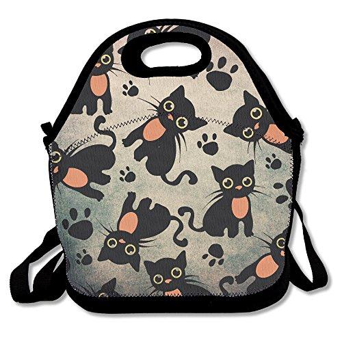 Black Cat Portable Lunch Box Bag Insulated Waterproof Travel Handbag For Women Adults Kidsand Girls