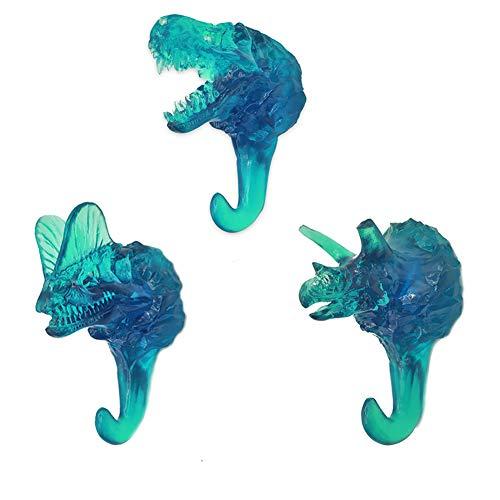 PANDA SUPERSTORE 3pcs Simulated Dinosaur Skeleton Hooks Resin Fossils Hanging Wall Hooks Coat Hooks for Bedroom Bathroom KitchenTransparent Blue