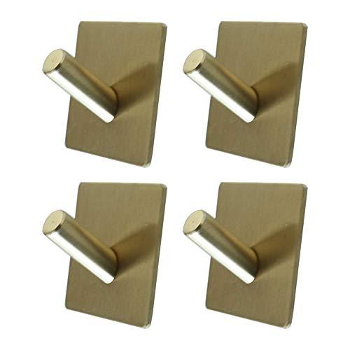 Rustproof 304 Stainless Steel Self Adhesive Hooks Wall Hangers Waterproof Hanging Shower Hooks - 4 Packs