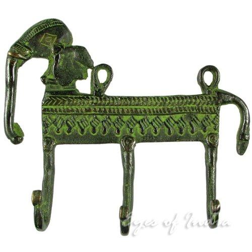 Eyes of India - 5 Green Brass Elephant Decorative Animal Wall Hooks Hangers Coat Rack Antique Bronze Indian Bohemian Boho