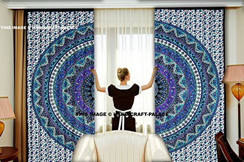 Indian Popular Mandala Tapestry Tapestries Design Elephant Mandala Curtain Set Floral Living Bed Room Window Drapes Decor Handmade Room Divider Decor Bedroom Curtains Window Treatment
