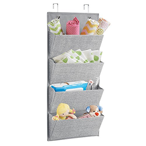 mDesign Wall MountOver Door Fabric Baby Nursery Closet Organizer for Stuffed Animals Diapers Wipes Towels - 4 Pockets Gray
