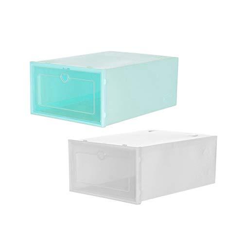 2PC Foldable Shoe Boxs Stackable Clear Shoe Storage Box Plastic Shoe Organizer - Storage Bins Shoe Container Organizer 23X14X35CM F