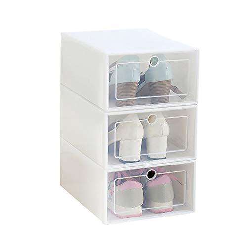 Foldable Shoe Storage Boxes  3Pcs Clear Plastic Stackable Shoes Organizer Cases Front Drop Shoe Box Container White