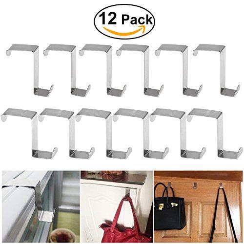 12pcs Over Door Hanger BESTOMZ Stainless Steel Over Door Hooks Cabinet Draw Clothes Hanger