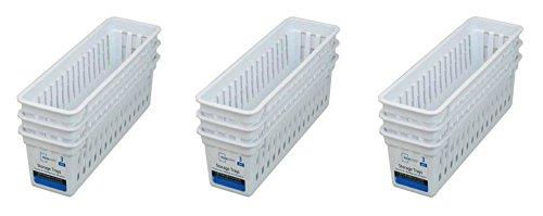 Slim Plastic kitchen Storage Organization Trays Baskets in White Set of 9